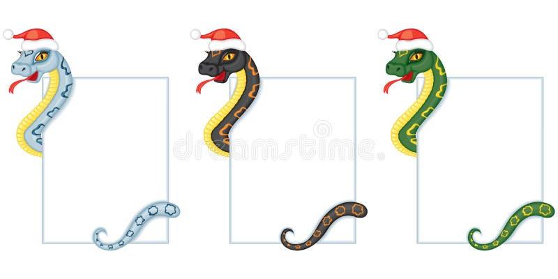 A serpente dos desenhos animados mantem um cartão ilustração royalty free