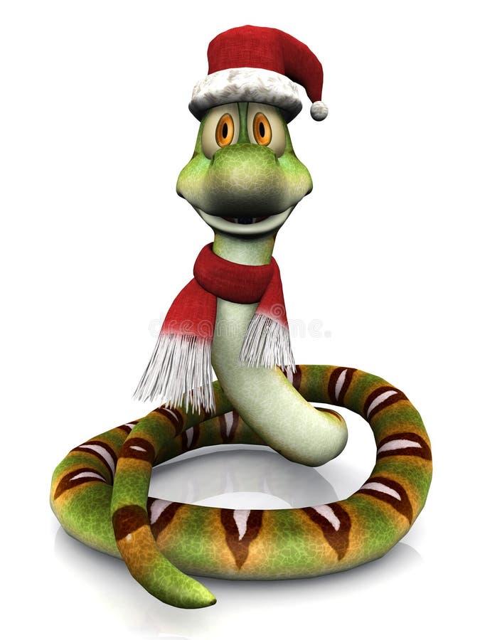 Serpente dos desenhos animados que desgasta o chapéu e o lenço de Santa. ilustração stock