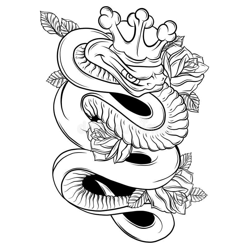 Serpente e Rose Traditional Tattoo Art da ilustração do vetor ilustração royalty free