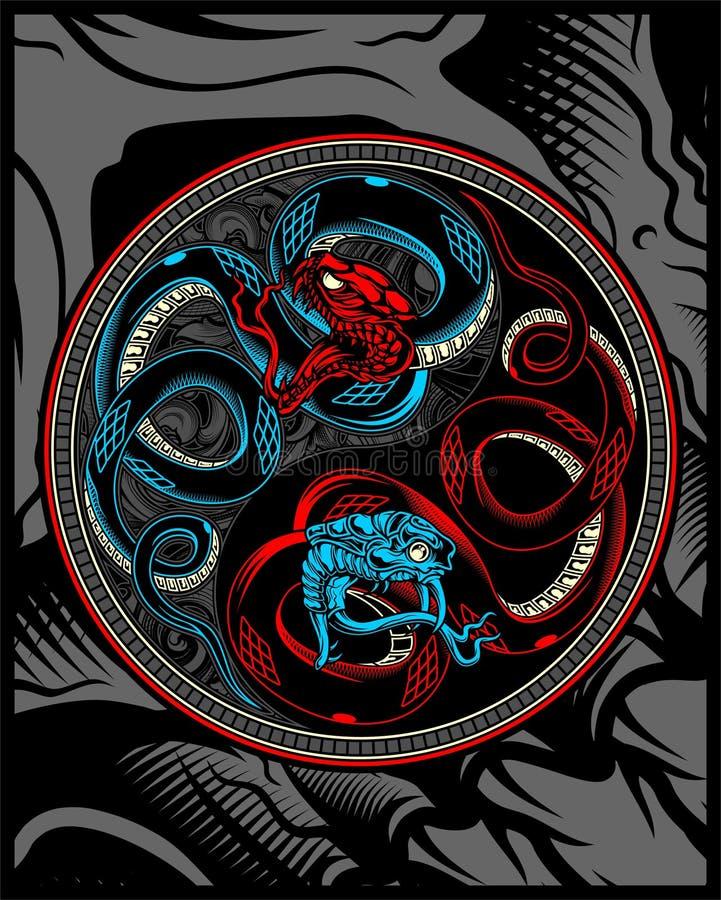 Serpente gemellato, disegno ying della mano di vettore di yang del serpente illustrazione di stock