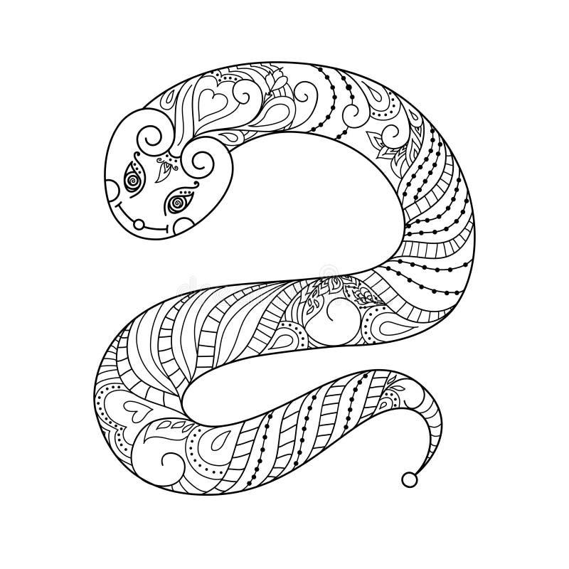 Serpente Ilustração do vetor doodle Livro de coloração preto e branco Anti projeto da ilustração do esforço Isolado no branco EPS ilustração royalty free