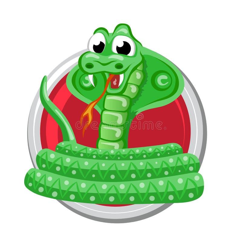 Serpente L'oroscopo di Oriente firma dentro il cerchio Simboli cinesi illustrazione vettoriale
