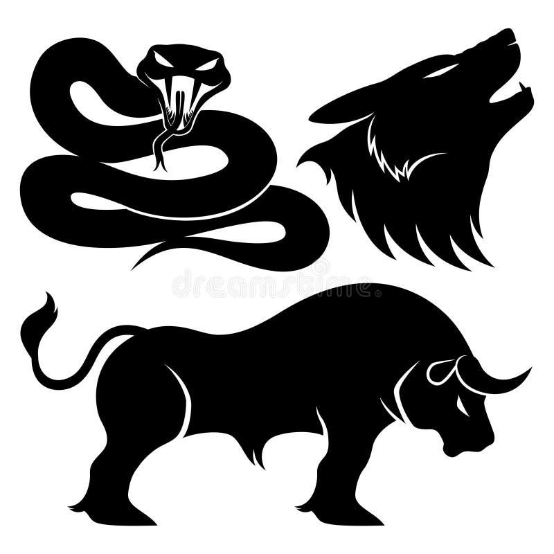 Serpente, lupo e toro illustrazione vettoriale