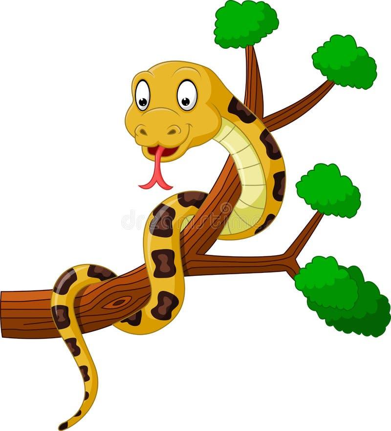 Serpente marrone del fumetto sul ramo illustrazione di stock