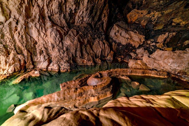 A serpente na caverna de Sumaguing nos Philippians imagens de stock royalty free