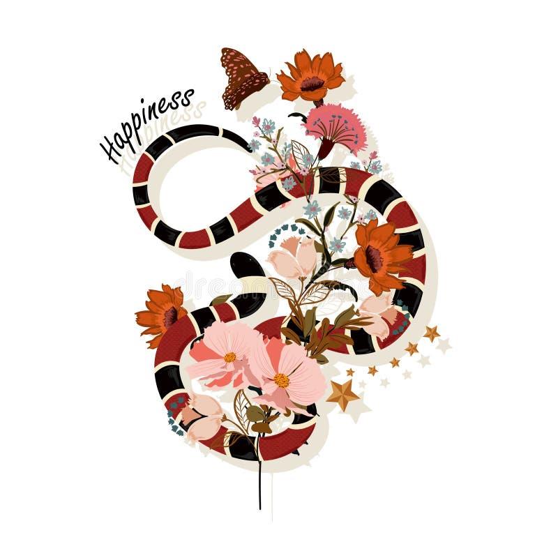 Serpente na moda com vetor do projeto gráfico das flores com expressão de HA ilustração stock