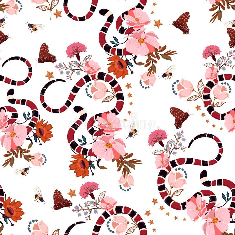 Serpente na moda do teste padrão sem emenda com vetor do projeto gráfico das flores ilustração do vetor