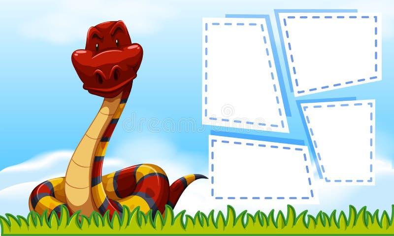 Serpente no molde do quadro ilustração stock