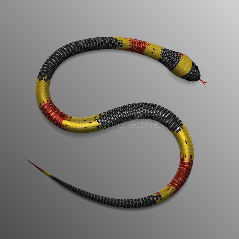 Serpente tropical realística em S ou em posição 5 ilustração stock