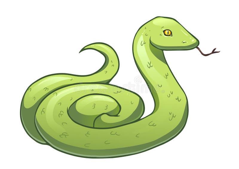 Serpente verde del fumetto illustrazione di stock