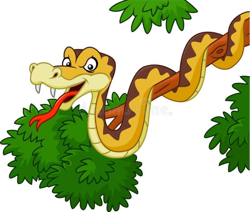 Serpente verde del fumetto sul ramo illustrazione vettoriale