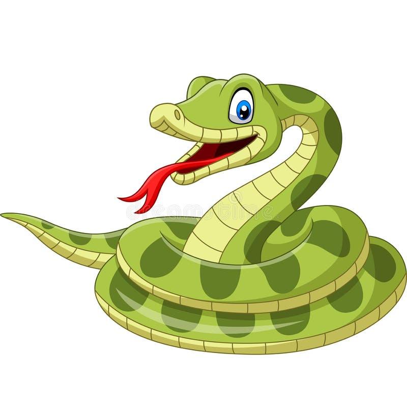 Serpente verde dos desenhos animados no fundo branco ilustração royalty free