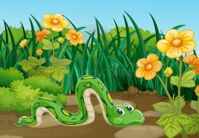 Serpente verde que rasteja no jardim ilustração stock