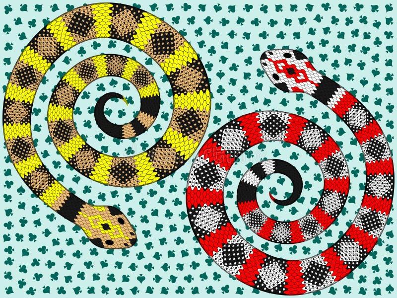 Serpenteie com teste padrão do terno do cartão, duas serpentes abstratas com teste padrão do terno do cartão ilustração do vetor
