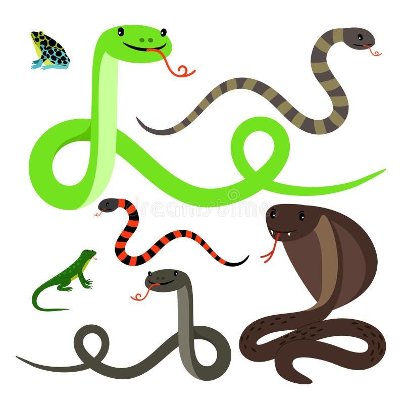 Serpentes e ícones dos desenhos animados do lagarto ajustados ilustração royalty free