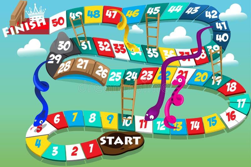 Serpentes e jogo das escadas ilustração royalty free