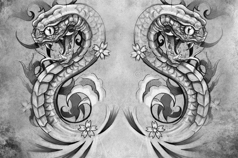 Serpenti. Progettazione del tatuaggio sopra fondo grigio illustrazione vettoriale