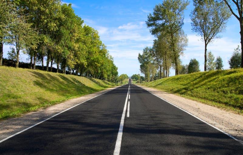 Serpentina del negro de la carretera de asfalto en día asoleado. imagen de archivo