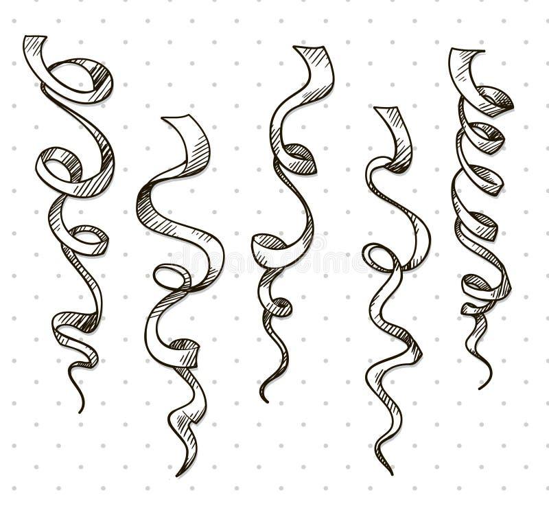 Serpentina del partido. Cintas. Celebración. vector stock de ilustración