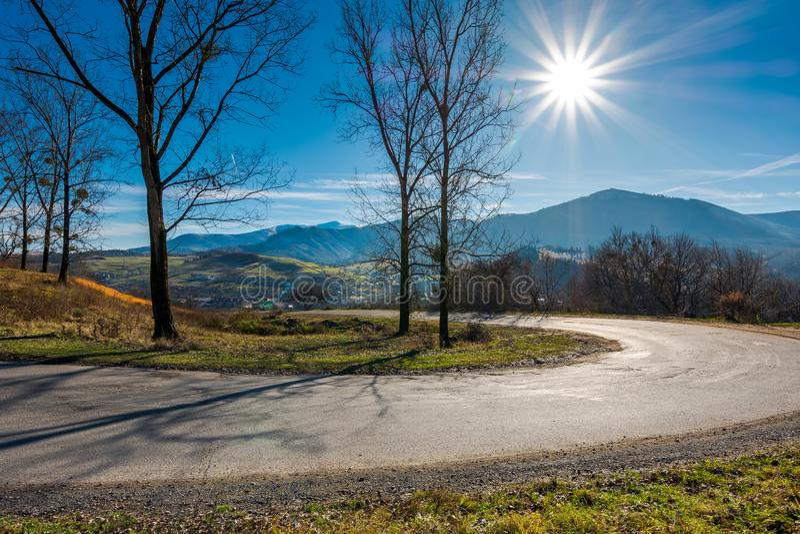 Serpentine in beautiful mountainous countryside stock photos