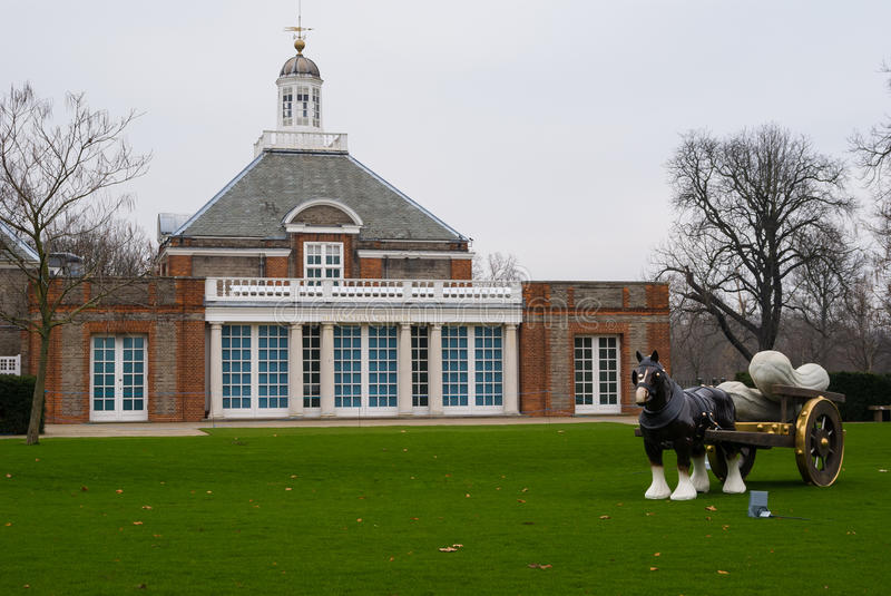 Serpentine Gallery in Hyde Park, London England. Serpentine Gallery and the sculpure of horse in Hyde Park, London England stock image