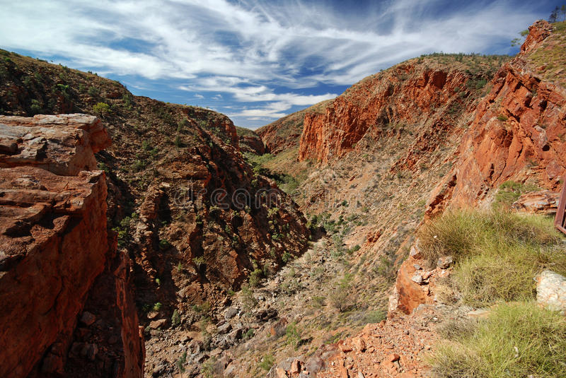 Serpentine Gorge. A photo of red Heavitree Quarzite of main valley of Serpentine Gorge royalty free stock photos