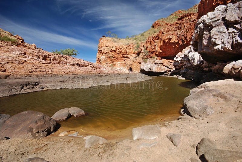 Serpentine Gorge Water Hole. Serpentine Gorge is one of the gorges in the West MacDonnell Ranges in Australia's Northern Territory royalty free stock image