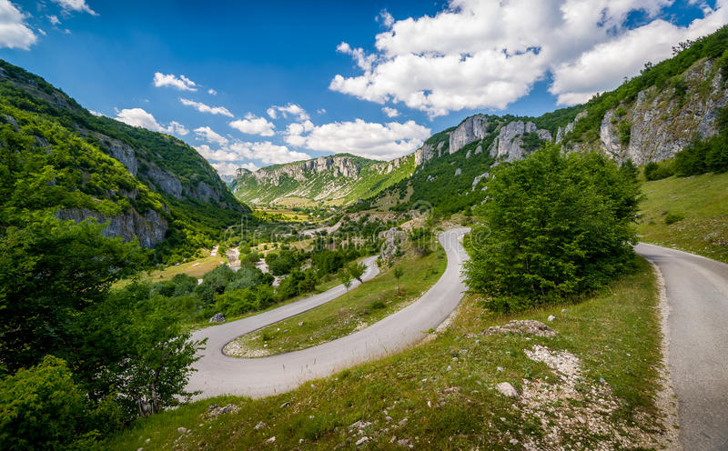 Serpentine mountain road. In Nevidio - invisible canyon of river Komarnica, popular touristic spot in Montenegro royalty free stock photos