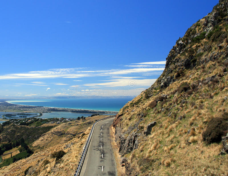 Serpentine road. Mountain Serpentine Road, New Zealand royalty free stock photo