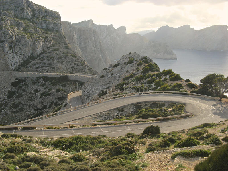Serpentine Road. Dangerous serpentine road along the rocky shores of the Mediterranean Sea on Majorca island, Spain royalty free stock images