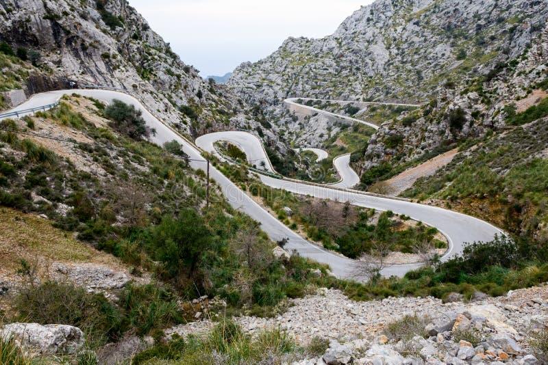 Serpentine road direction sa calobra, majorca. (spain stock photography