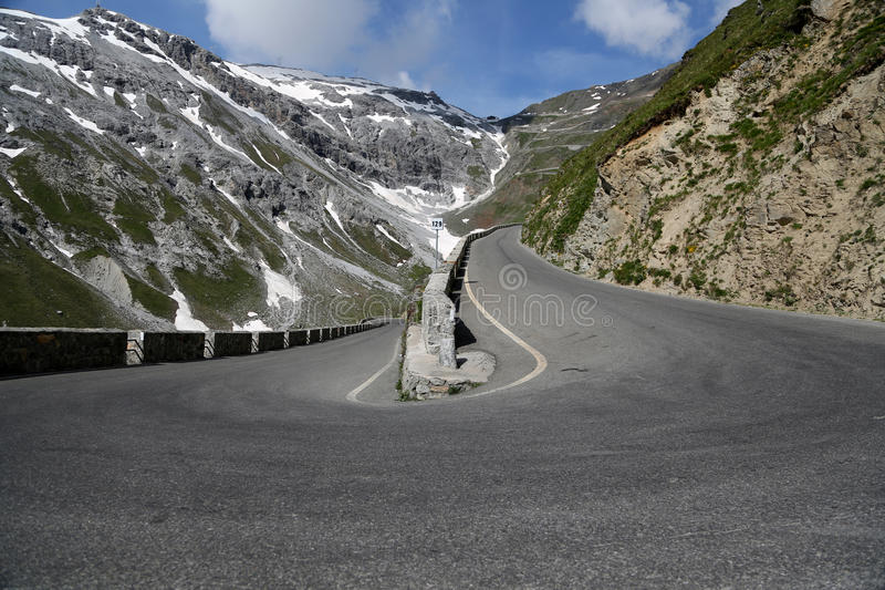 Serpentine road. In the italian Alps which leads to Stelvio Pass royalty free stock photo