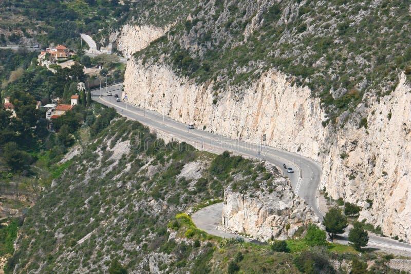 Serpentine road near Eze royalty free stock photos
