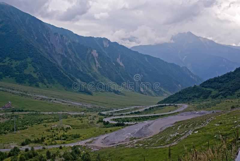 A road to South Ossetia near the Roks tunnel royalty free stock photography