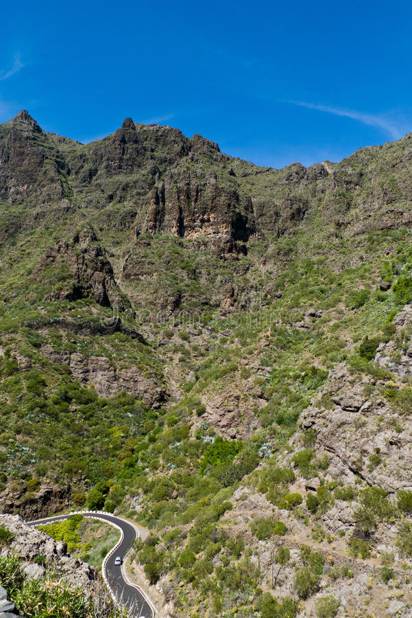 Serpentine road to town of Masca, Tenerife. Serpentine road to town of Masca in the Teno mountain range, north west Tenerife, Canary islands, Spain, Atlantic stock image