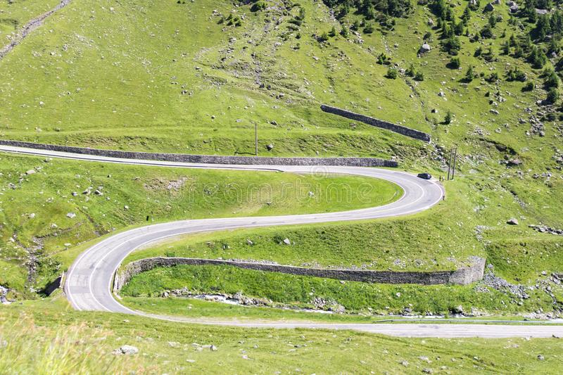 Serpentines of the route Transfagaras in Romania royalty free stock photography