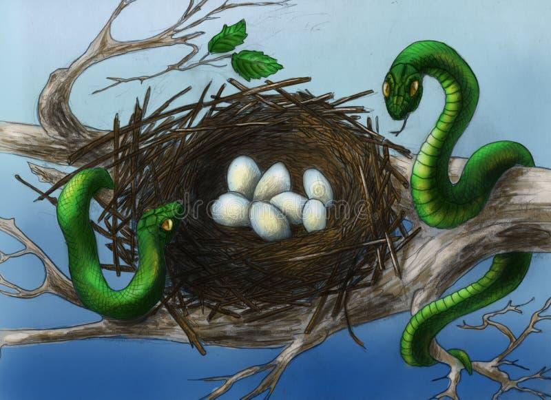 Serpents dans l'emboîtement de l'oiseau illustration de vecteur