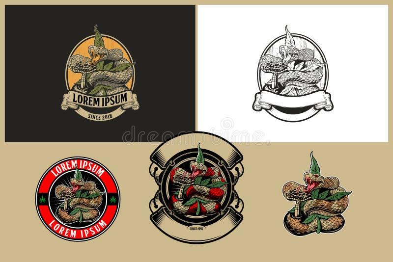 Serpiente con la plantilla del logotipo del vector de la hoja o del cáñamo de la marijuana stock de ilustración