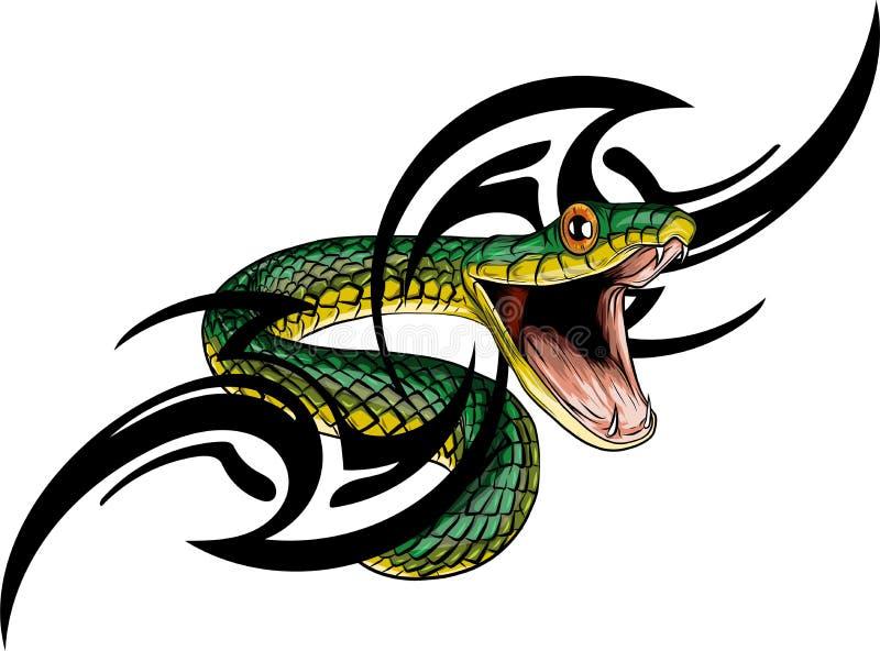 Serpiente Dé el ejemplo exhausto del vector en técnica de la tinta en fondo del grunge stock de ilustración