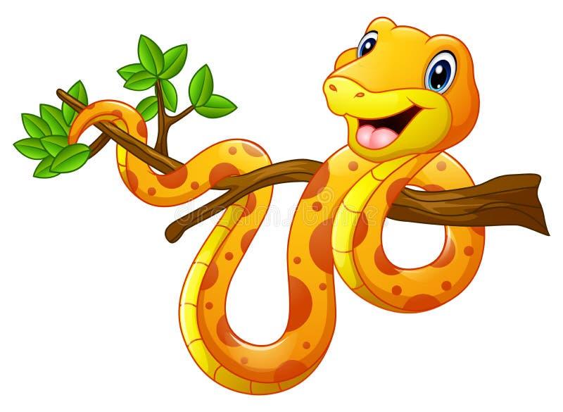 Serpiente de la historieta en rama stock de ilustración