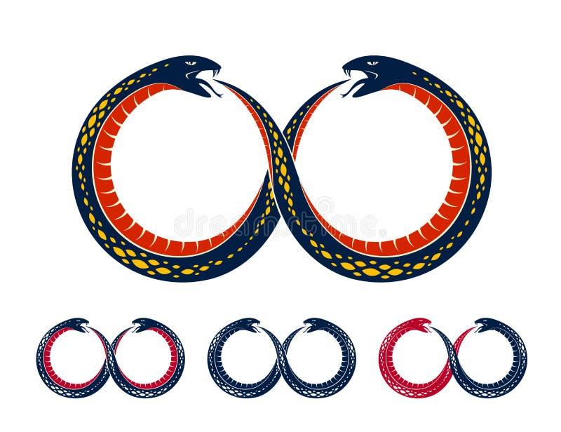Serpiente de Ouroboros en una forma del s?mbolo del infinito, el ciclo sin fin de la vida y la muerte, ejemplo antiguo del vector ilustración del vector