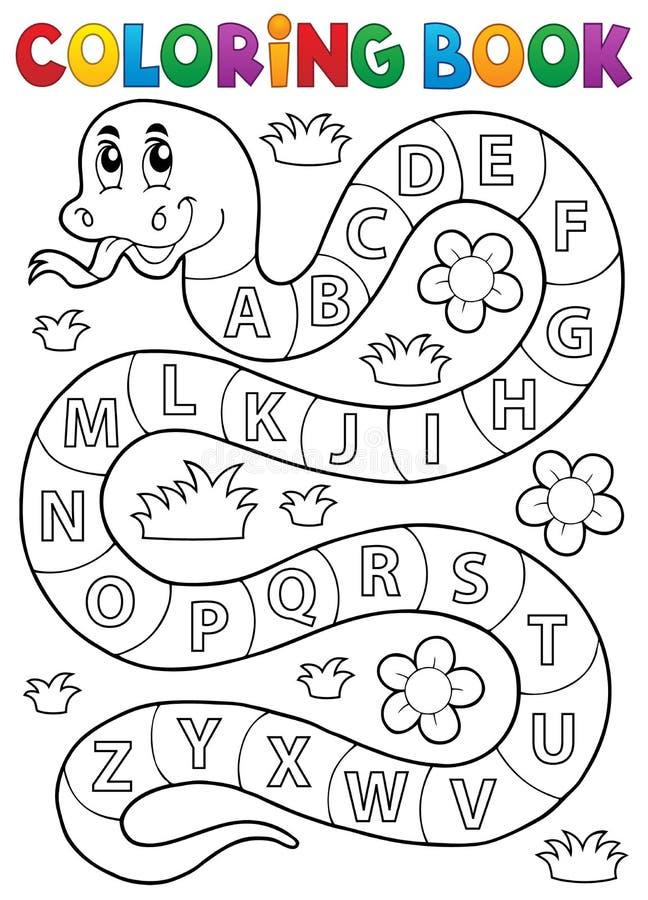 Serpiente del libro de colorear con tema del alfabeto stock de ilustración