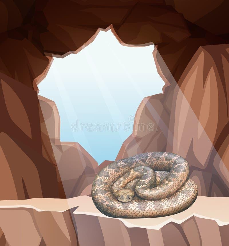 Serpiente en escena de la cueva stock de ilustración