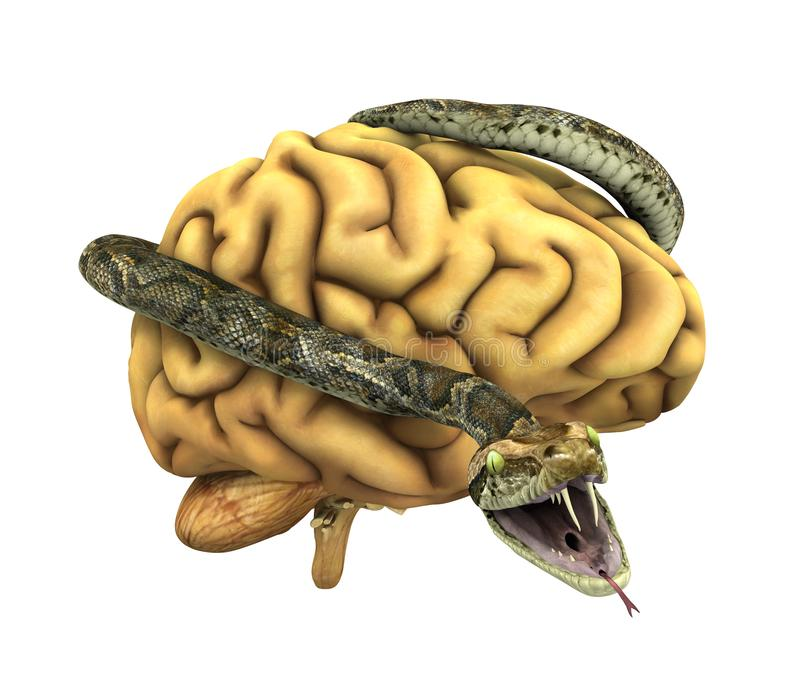 Serpiente envuelta alrededor de un cerebro ilustración del vector