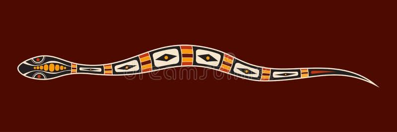 Serpiente Estilo aborigen del arte Ilustraci?n de color del vector ilustración del vector