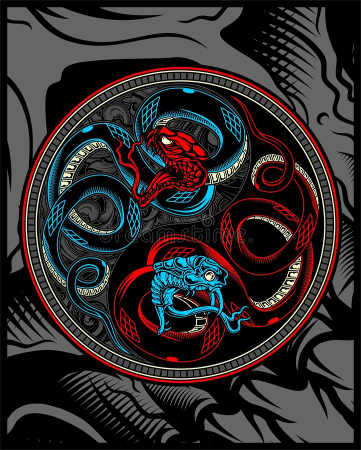 Serpiente gemela, serpiente ying el dibujo de la mano del vector de yang stock de ilustración