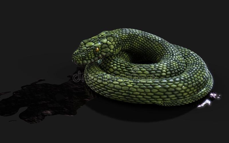 Serpiente gigante verde de la fantasía ilustración del vector