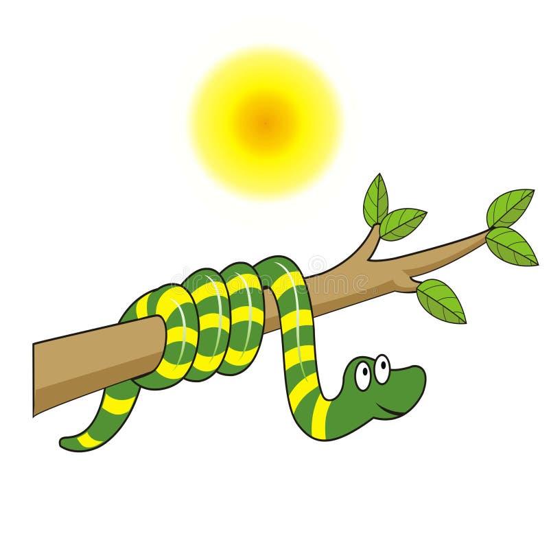 Serpiente linda envuelta alrededor de una rama libre illustration