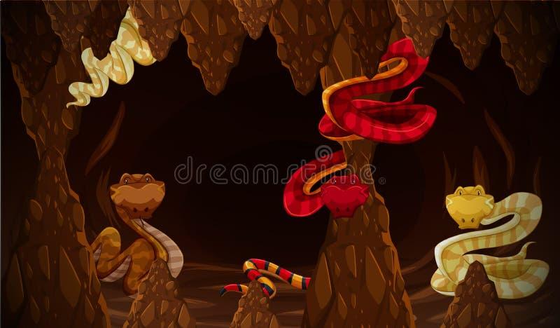 Serpiente peligrosa en la cueva ilustración del vector