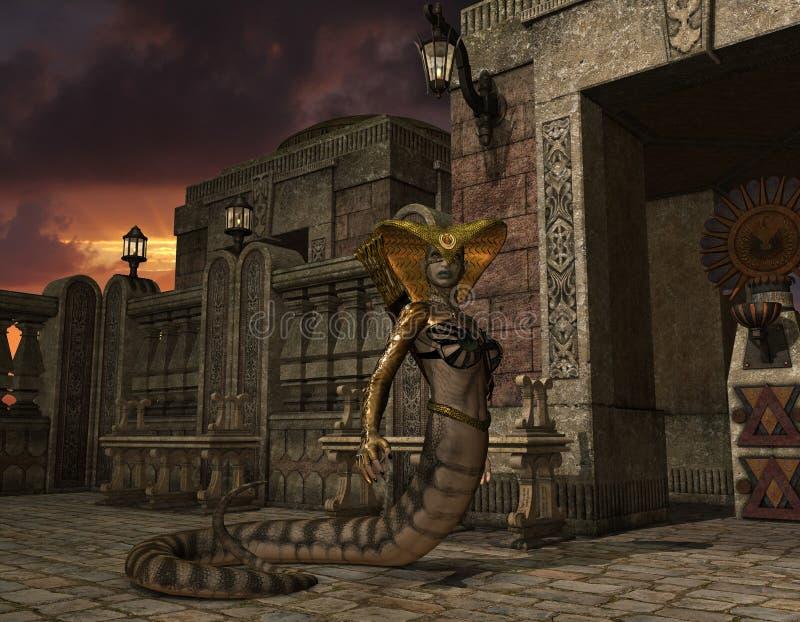 Serpiente que está en el templo ilustración del vector